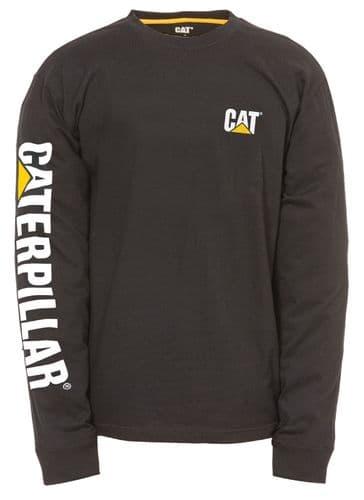 Caterpillar Trademark Banner Long Sleeve T-Shirt Tee Shirts Black
